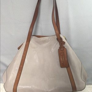 Fossil Large Tan Leather Hobo Bag